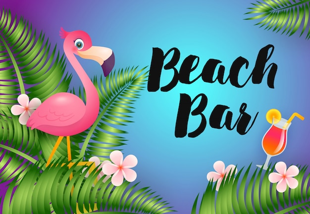 Inscription au bar de la plage avec flamant rose et cocktail