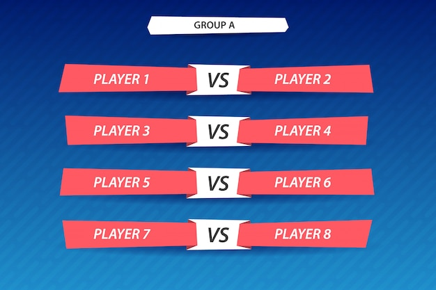 Inscription au tournoi, phase de groupes. tableau de bord pour afficher les résultats du jeu