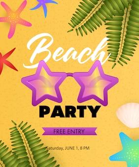 Inscription beach party avec des lunettes de soleil en forme d'étoile