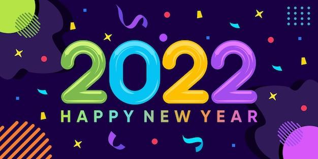 Inscription bonne année 2022 sur fond d'explosion de confettis. vecteur premium