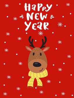 L'inscription bonne année et la tête d'un cerf dans une écharpe. carte de noël. flocons de neige.