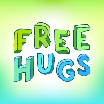 Inscription câlins gratuits. lettres d'enfants. expression positive. illustration vectorielle