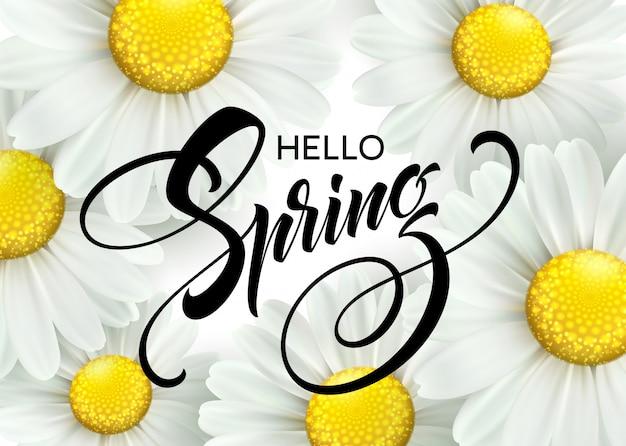Inscription calligraphique bonjour printemps avec fleur de printemps - marguerite blanche en fleurs.