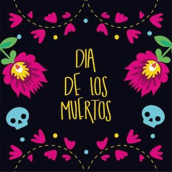 Inscription de carte dia de muertos avec décoration de jardin de fleurs