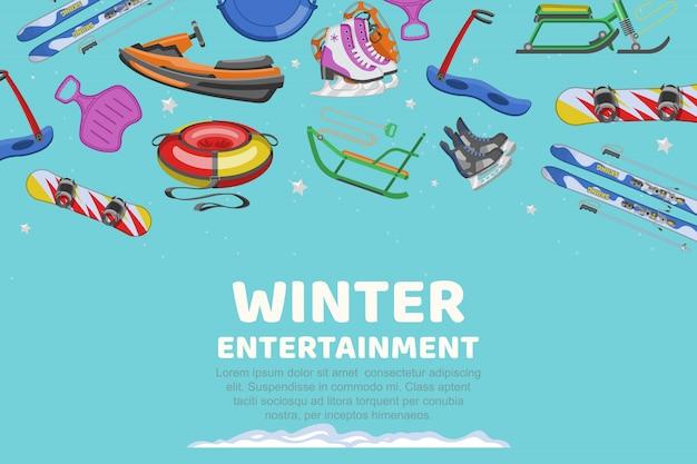 Inscription divertissement d'hiver, articles de collection pour le sport et le divertissement, illustration de dessin animé.