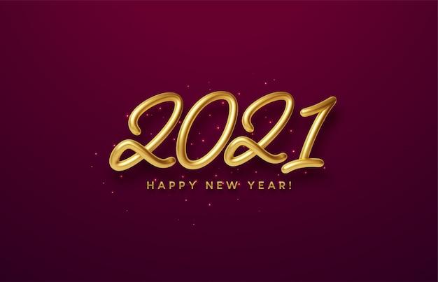 Inscription dorée 3d brillante réaliste 2021 bonne année sur un fond rouge.