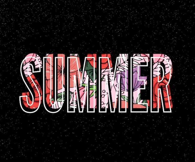 Inscription d'été avec illustration de fleurs tropicales