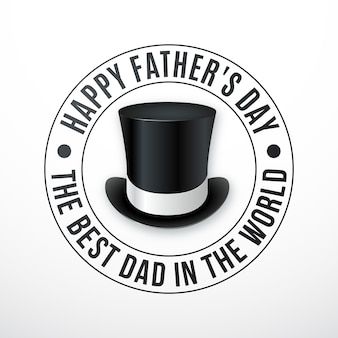 Inscription de la fête des pères heureux avec chapeau rétro.