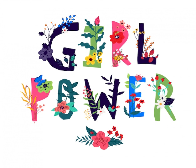 Inscription girl power, entourée de fleurs. vecteur. illustration en style cartoon. slogan de motivation comme une image de la nature.