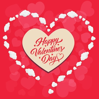 Inscription happy valentines day dans un cadre en forme de coeur
