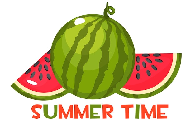 L'inscription heure d'été et pastèque mûre juteuse. entier et tranches de pastèque rouge sucrée.