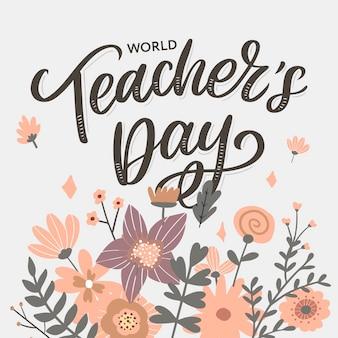Inscription de la journée des enseignants heureux. lettrage dessiné à la main.
