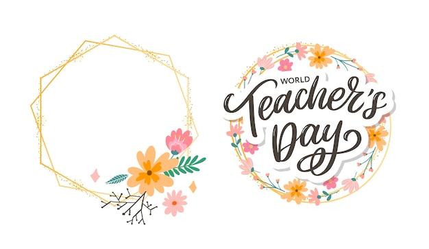 Inscription de la journée des enseignants heureux. salutation de calligraphie. lettrage dessiné à la main.