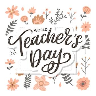 Inscription de la journée des enseignants heureux. salutation lettrage dessiné à la main.