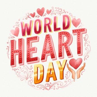 Inscription de la journée mondiale du coeur aquarelle avec des coeurs