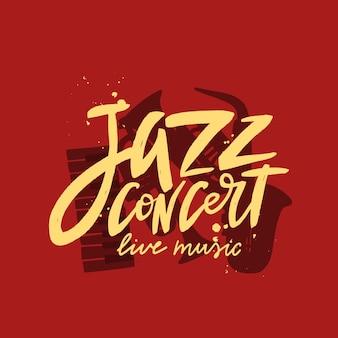 Inscription de lettrage de brosse de concert de jazz