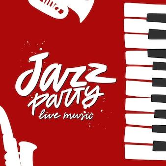 Inscription de lettrage de brosse de fête de jazz