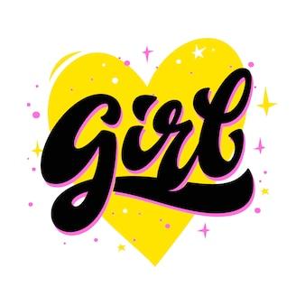 Inscription de lettrage fille avec coeur