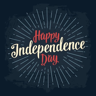 Inscription de lettrage de main de joyeux jour de l'indépendance avec des rayons calligraphie vintage quatrième juillet