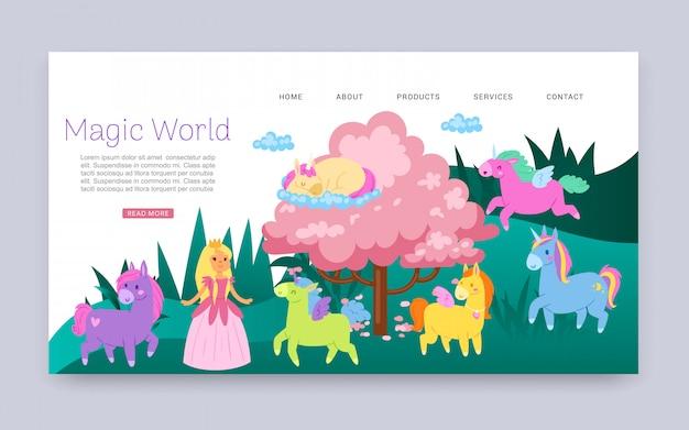 Inscription monde magique, animaux fabuleux avec des ailes, fantaisie, page web pour enfants, illustration de dessin animé.