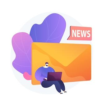 Inscription à la newsletter. passe-temps moderne, lecture de nouvelles en ligne, courrier internet. publicité de spam, lettre de phishing, élément de conception d'idée d'escroquerie.