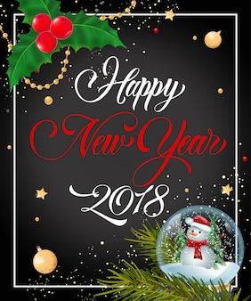 Inscription de nouvel an avec globe de neige