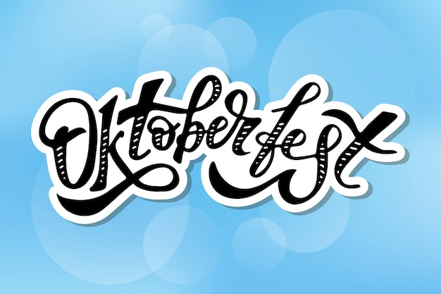 Inscription oktoberfest sticker calligraphie pinceau texte de vacances