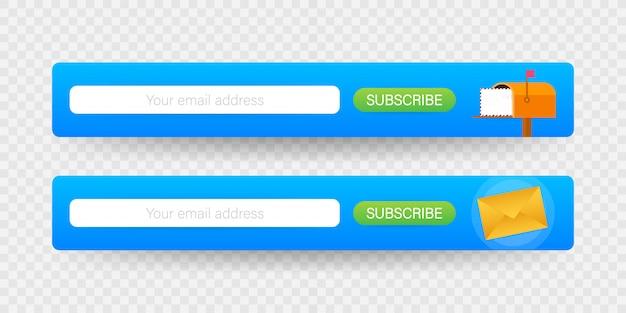 Inscription par e-mail, modèle de vecteur de newsletter en ligne avec boîte aux lettres et bouton soumettre