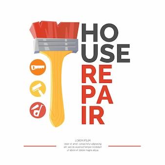 Inscription réparation à domicile et bannière de brosse réaliste