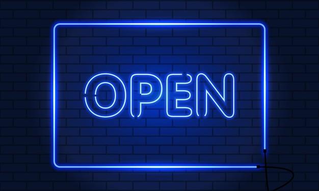 Inscription rétro néon ouverte.
