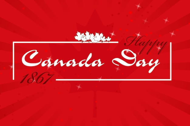 Inscription typographique joyeuse fête du canada. 1867