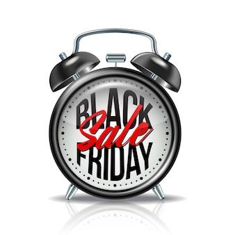 Inscription vendredi noir sur réveil noir réaliste