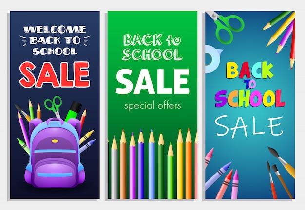 Inscription à la vente de l'école avec sac à dos, crayons