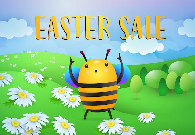 Inscription de vente de pâques avec le personnage de dessin animé d'abeille sur la pelouse