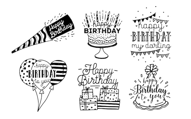 Inscriptions mignonnes de voeux de joyeux anniversaire