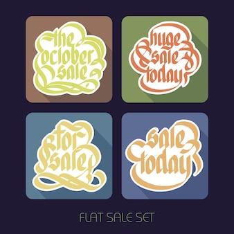 Inscriptions publicitaires de vente plat typographique sertie d'autocollants en papier calligraphique sur des carrés colorés isolés