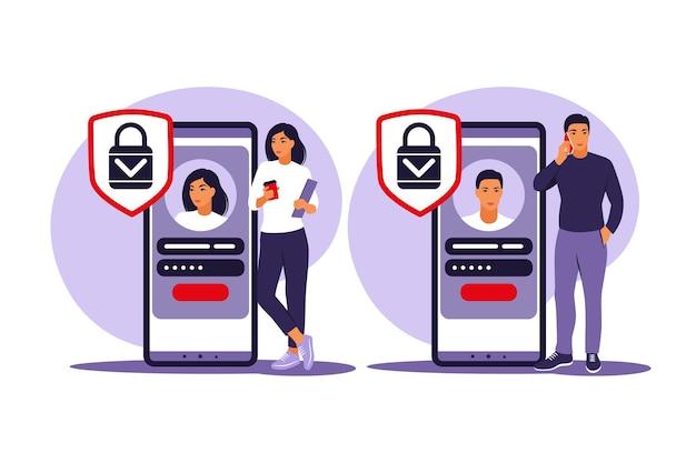 Inscrivez-vous concept. les jeunes s'inscrivent ou se connectent à un compte en ligne sur une application pour smartphone. login et mot de passe sécurisés. illustration vectorielle. plat.