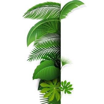 Inscrivez-vous avec l'espace de texte des feuilles tropicales