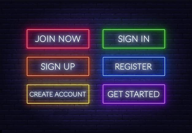 Inscrivez-vous maintenant, connectez-vous, inscrivez-vous, inscrivez-vous, créez un compte, commencez à signer au néon sur un fond de brique. boutons lumineux multicolores.