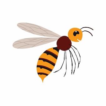 Insecte frelon en vol. illustration vectorielle isolé sur fond blanc.