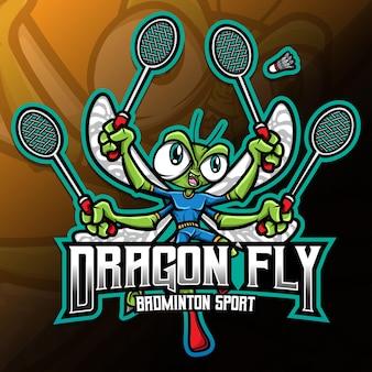 Insecte de mouche de dragon jouant l'illustration de sport de badminton