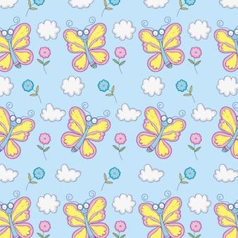 Insectes de beauté papillons avec fond de fleurs et de nuages