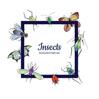 Insectes dessinés à la main voler isolé sur blanc