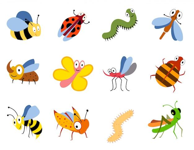 Insectes drôles, jeu de vecteur de bugs de dessin animé mignon