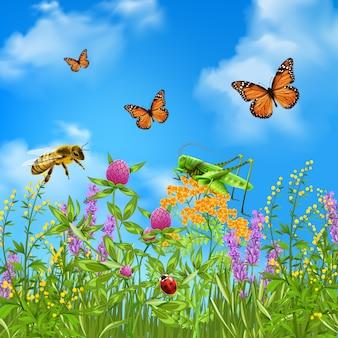 Insectes d'été réalistes