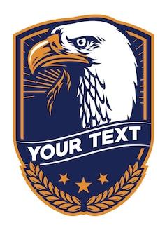 Insigne d'aigle à tête blanche en illustration plate de bouclier