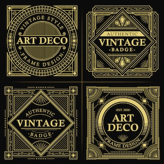 Insigne art déco vintage en or