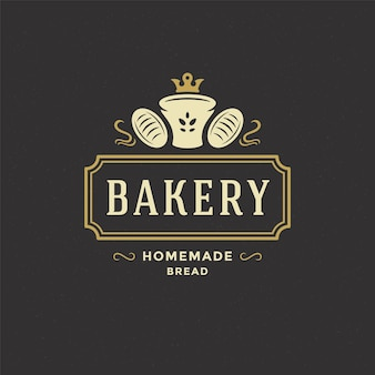 Insigne de boulangerie ou étiquette illustration vectorielle rétro pain ou silhouette de pain pour boulangerie