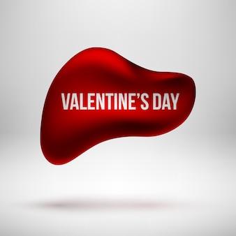 Insigne de bulle premium rond abstrait rouge, modèle de bouton de luxe avec amour