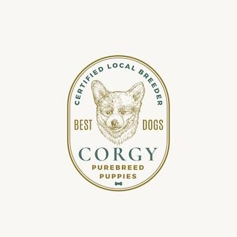 Insigne de cadre d'éleveur de chien certifié ou modèle de logo croquis de visage de chiot corgy dessiné à la main